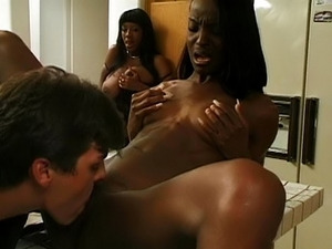 Hot black babe fucked in the kitchen