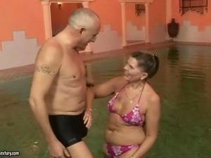Hot granny enjoying hard sex