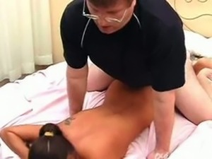 latina with glasses rammed hard in the bedroom
