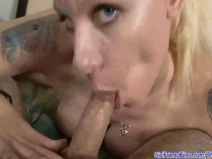 Amateur blonde GF gives pov blowjob for facial cumshot