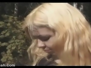 Hot erotic sex with young blonde who meets a man for an outdoor encounter.