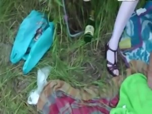Teen takes it in the ass at picnic free