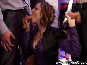A group of European pornstars are getting fuck by their office colleagues