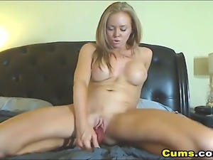 Very hot and horny busty babe having a good time playing her tight shaved...