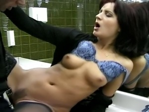 Leggy tall brunette slut gets the fucking of her life in a public toilet.