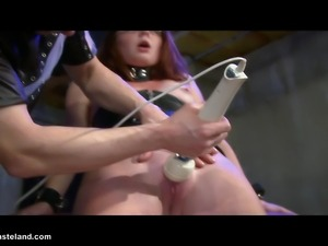 A Dom has has fun tormenting his young female slave.
