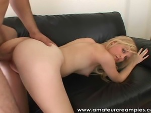 Beautiful Blonde wild in bed getting her pussy creampied.