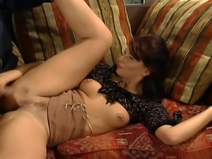 They have great sex on the couch, she is riding him like a crazy bitch she...