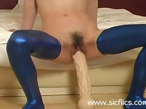 Submissive slave fisted and fucking a giant di
