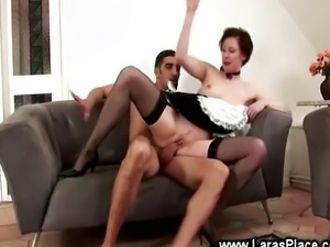 Horny french maid rides hard cock
