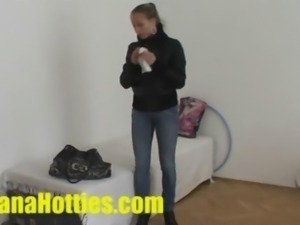 Czech fashion model Kamila at her first porn casting