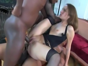 90 pound anal queen does interracial anal and DP. They finish her off with 3...