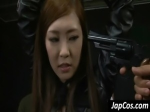 Hot asian slave gets tits rubbed free