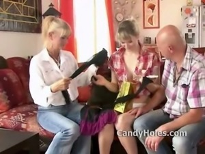 Swinger introduces mistress to wife and they both want to fuck her