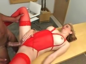 Blonde mature in red pantyhose gets ass fucked and takes a facial