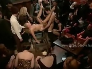 Chubby whore in a public bar gets fucked and spanked in public se