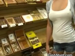 Amateur Blonde Flashes Body In A Cigar Store