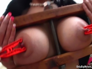 Gorgeous brunette Adrianne Black shows off her big boobs then gets the...