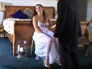 Cute bride getting fucked by two
