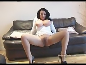 Busty mature babe panty play and showing off hairy bush