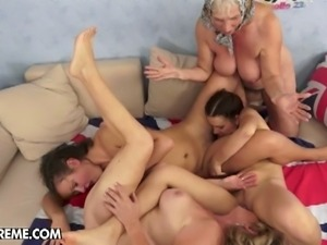 Hot old young lesbian foursome