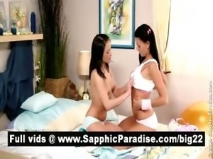 Superb brunette lesbos kissing and licking nipples and having strong orgasm