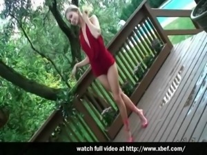 Teen Kasia in Red Dress free