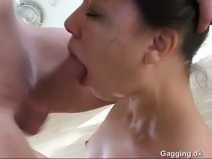 Danish brunette blowjob - sloppy deepthroat free