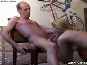 When the old man this long-legged blonde hired to clean the roof finds the...