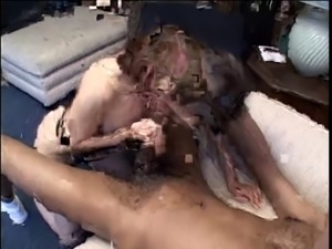 Hot white brunette mom gags and drools on Mr. 18 Inch