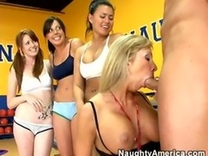 Sexy Gym Teacher Sucks Dick and Students Join