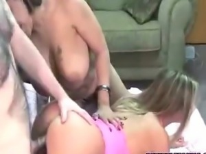 Slutty Leeanna shares a cock with busty Angel
