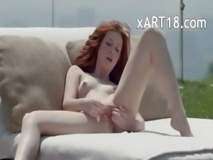 fetching redhead opening vagina outside