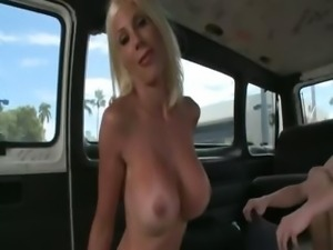 Bitchy blondie strips naked for sex in the bus