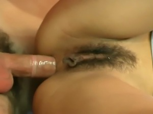 Hot looking brunette gets her hairy pussy fucked. But when guy pulls out his...