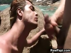 Latino Ethnic Gay Bareback Sex On The Beach