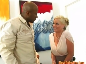 Big tits blonde takes black cock
