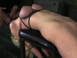 busty blonde treated like a sex toy