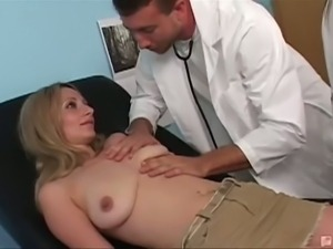 Pervert doctor does a nasty kind of boob check up