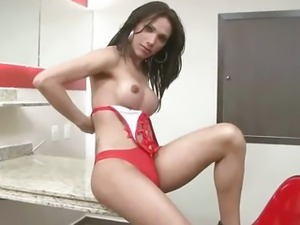 Tasty brunette shemale hottie strips and masturbates