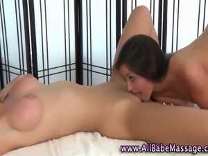 Lesbian fetish masseuse babe licking the pussy of sexy client