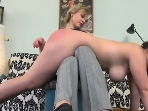 Obedient chubby brunette spanked hard