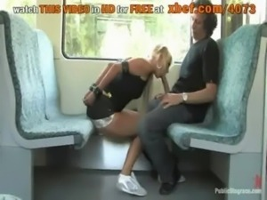 Cute Carla sucking fat big cock in a train free