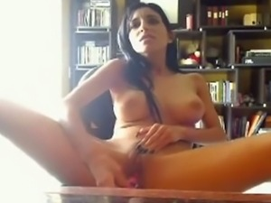 Busty brunette babe toy fuck her shave quim