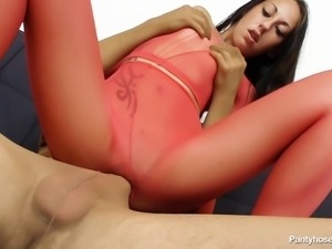 young brunette bitch riding a long cock