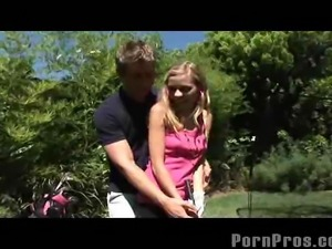 Golf can be a fun game if youre teaching Nicole Ray how to grab tight and...