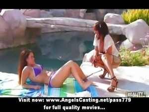 Hot amateur lesbian girls giving a tender massage near pool