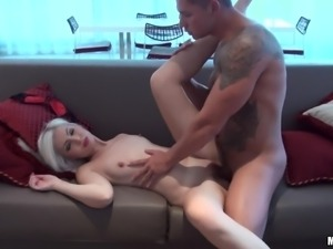 blonde angel with red lips gets drilled