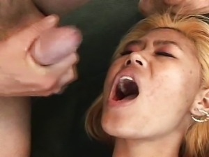 Asians feeded with cum from creampie