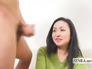 Subtitled CFNM Japanese milf amateur interview blowjob